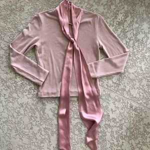 [Alice + Olivia] Blush Long Sleeve Blouse With Tie